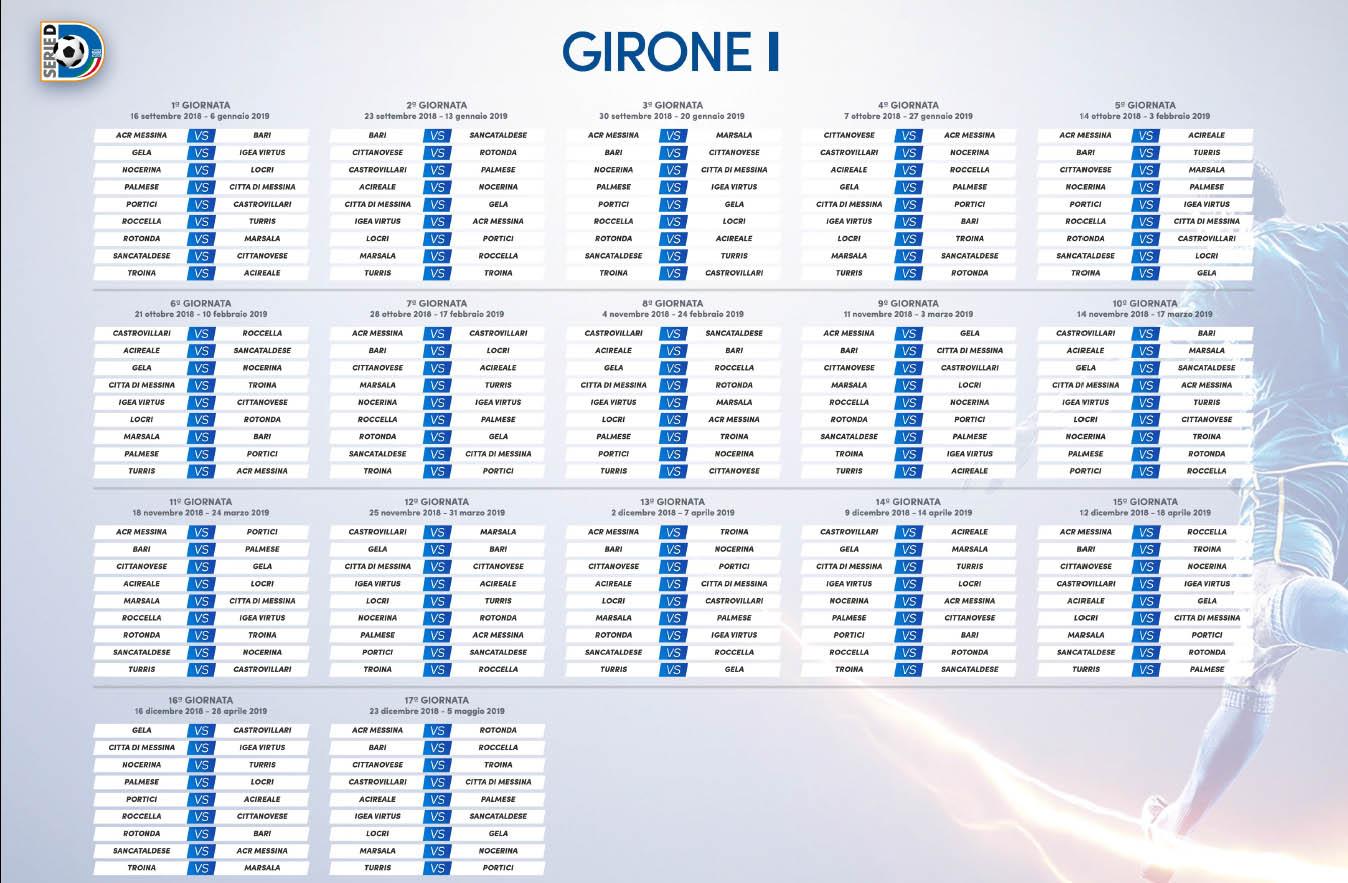 Calendario Serie A 16 Ottobre.Pubblicati I Calendari Della Serie D Esordio Del Messina In
